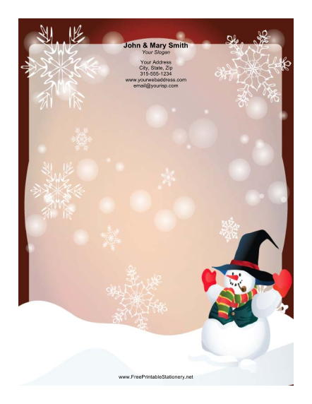 Well Dressed Snowman stationery design