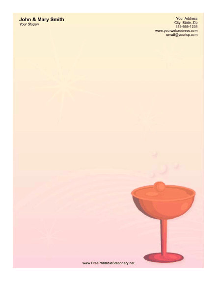 Wine Glass Orange stationery design