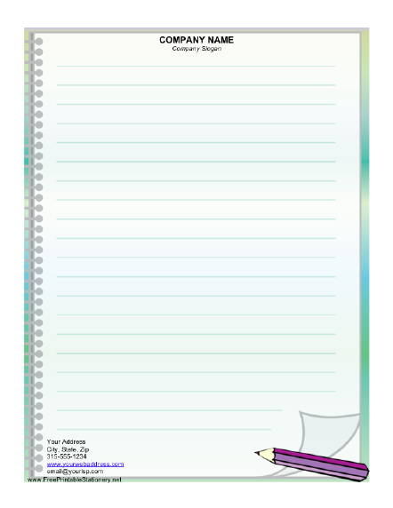 Writer Stationery Design  Printable Loose Leaf Paper
