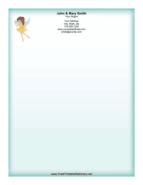 Yellow Flower Fairy stationery design