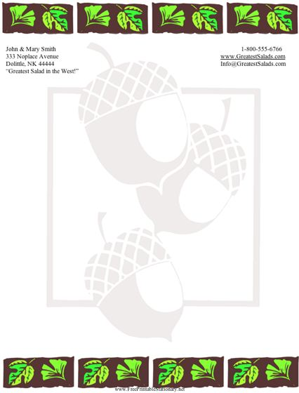 Acorns stationery design