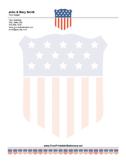American Flag stationery design