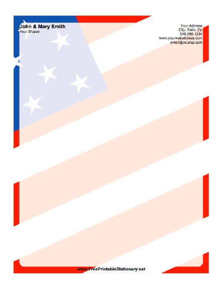 American Flag Background stationery design