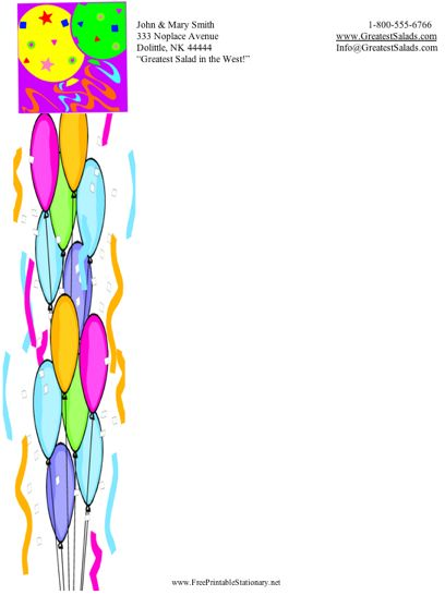 Party Balloons stationery design
