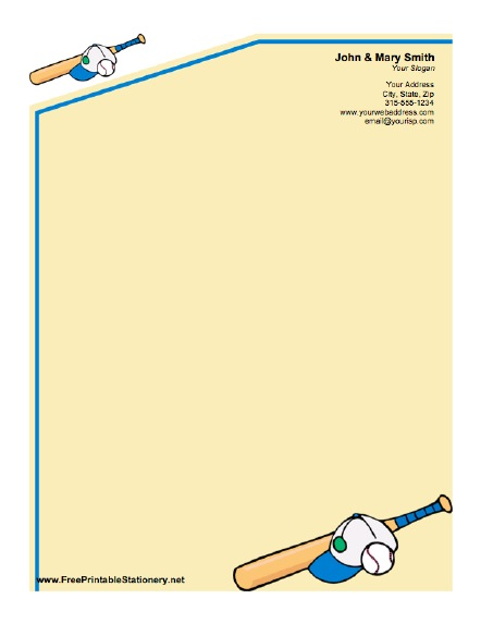 Baseball stationery design