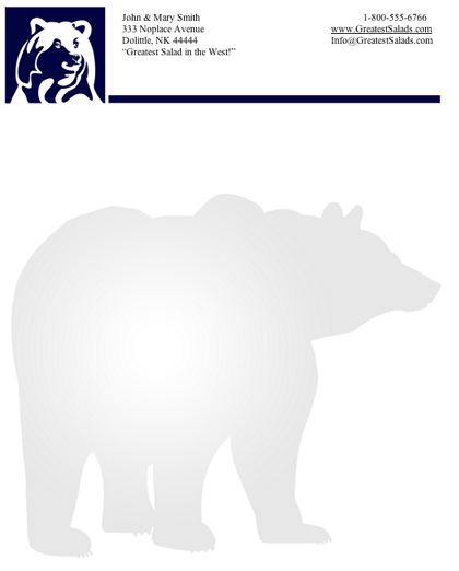 Bear stationery design