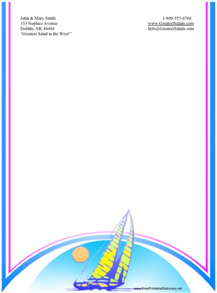 Boat stationery design