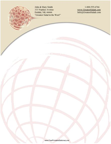Globe stationery design