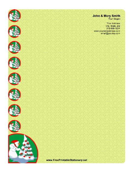 Christmas Snowman stationery design