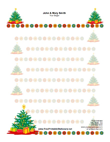 Christmas Tree stationery design