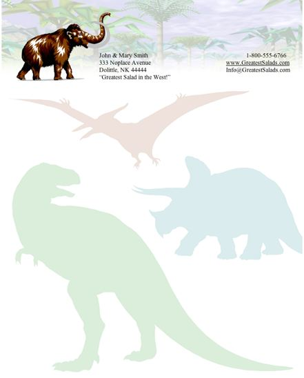 Dinosaurs stationery design