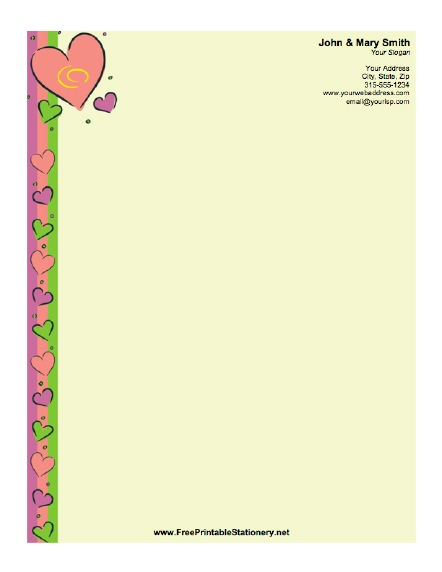 image regarding Printable Staionary titled Hearts Stationery