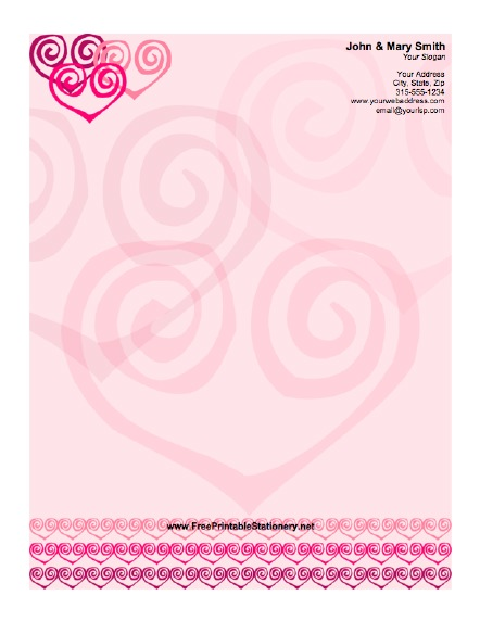 Stylized Hearts stationery design
