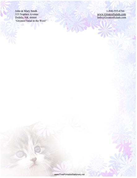 Kitty stationery design
