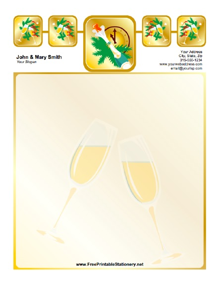 New Years Champagne stationery design