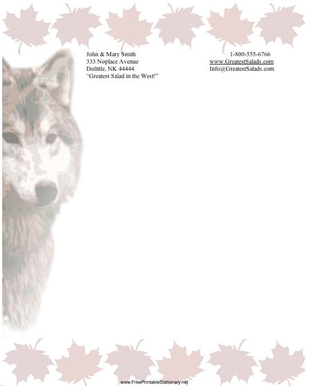 photograph regarding Free Stationary Printable titled Wolf Stationery